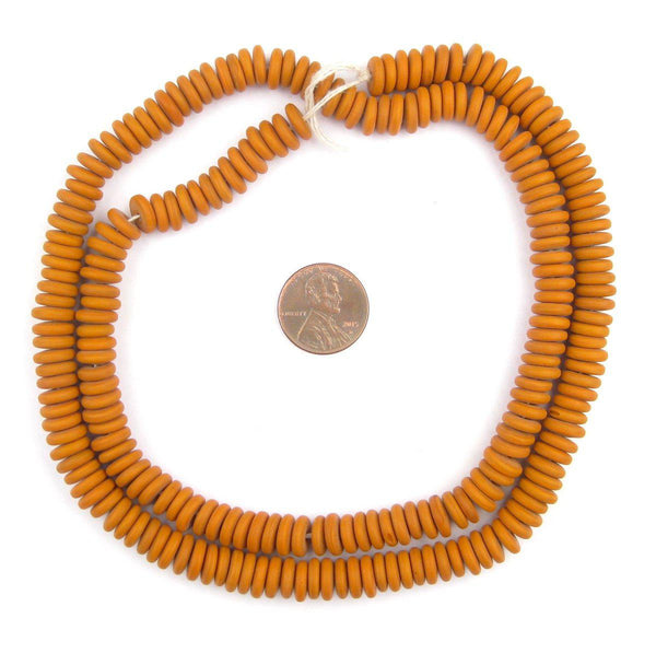 Pumkin Orange Glass Disk Beads (9mm)