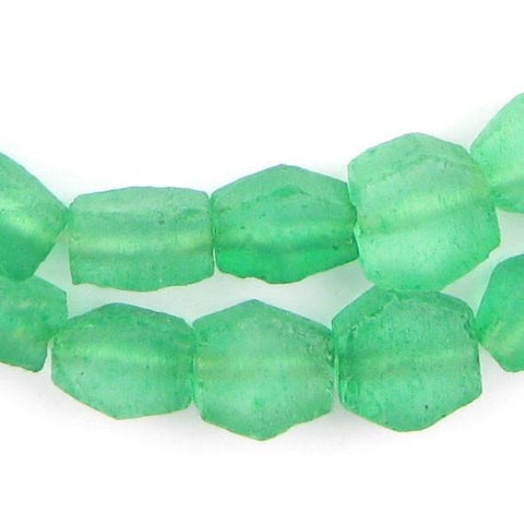 Verdant Green Hexagon Java Recycled Glass Beads - The Bead Chest