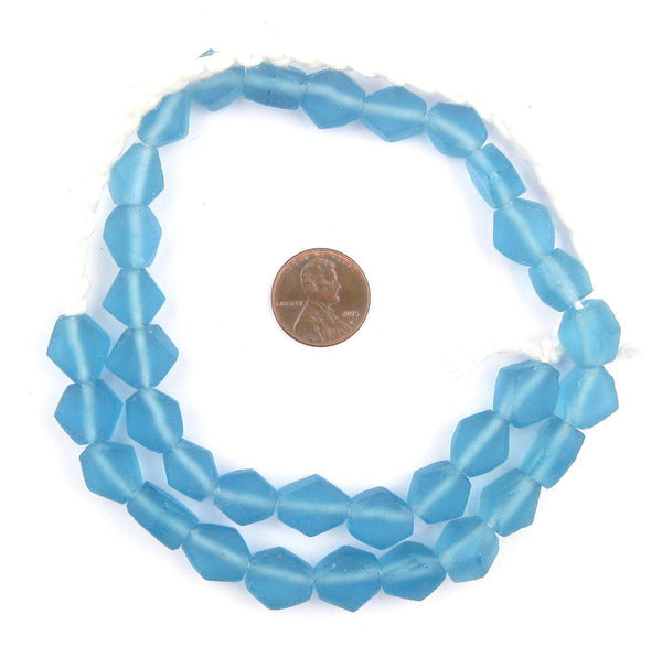 Light Blue Hexagon Java Recycled Glass Beads