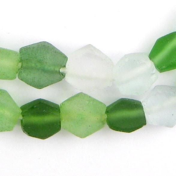 Jungle Medley Hexagon Java Recycled Glass Beads - The Bead Chest
