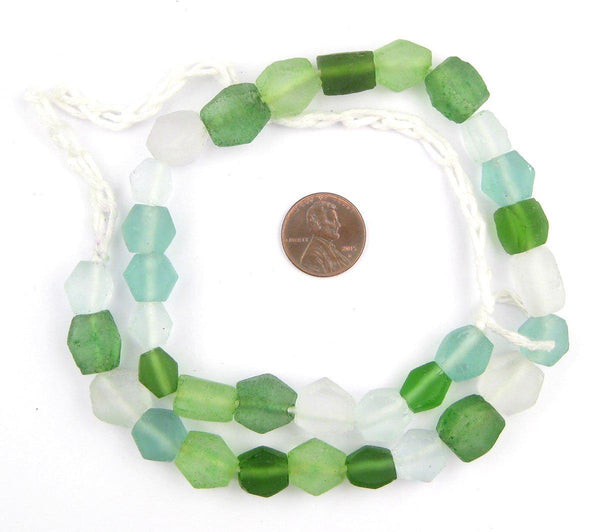 Jungle Medley Hexagon Java Recycled Glass Beads