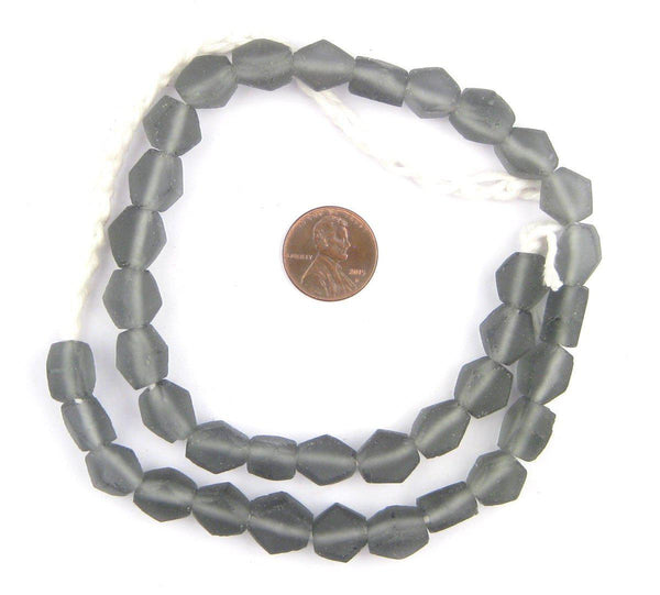Charcoal Hexagon Java Recycled Glass Beads