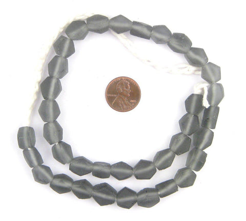 Charcoal Hexagon Java Recycled Glass Beads - The Bead Chest