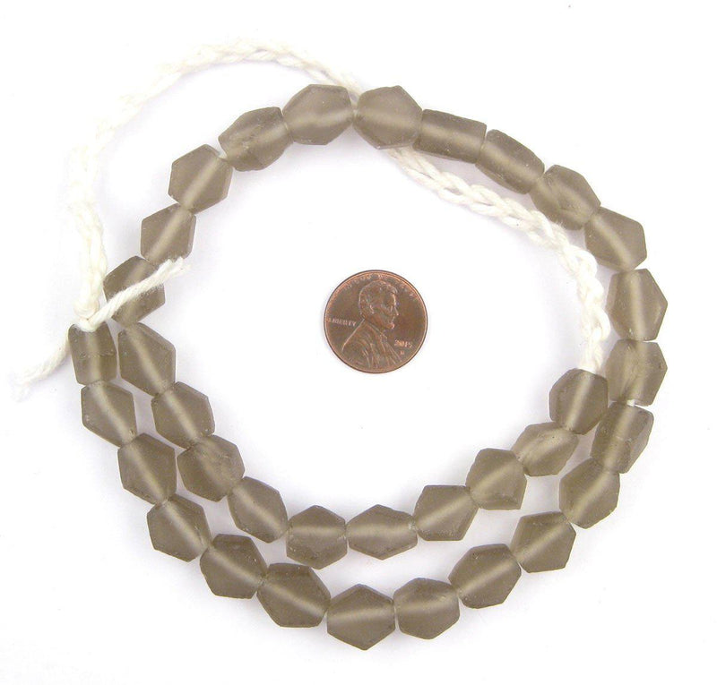 Groundhog Grey Hexagon Java Recycled Glass Beads - The Bead Chest