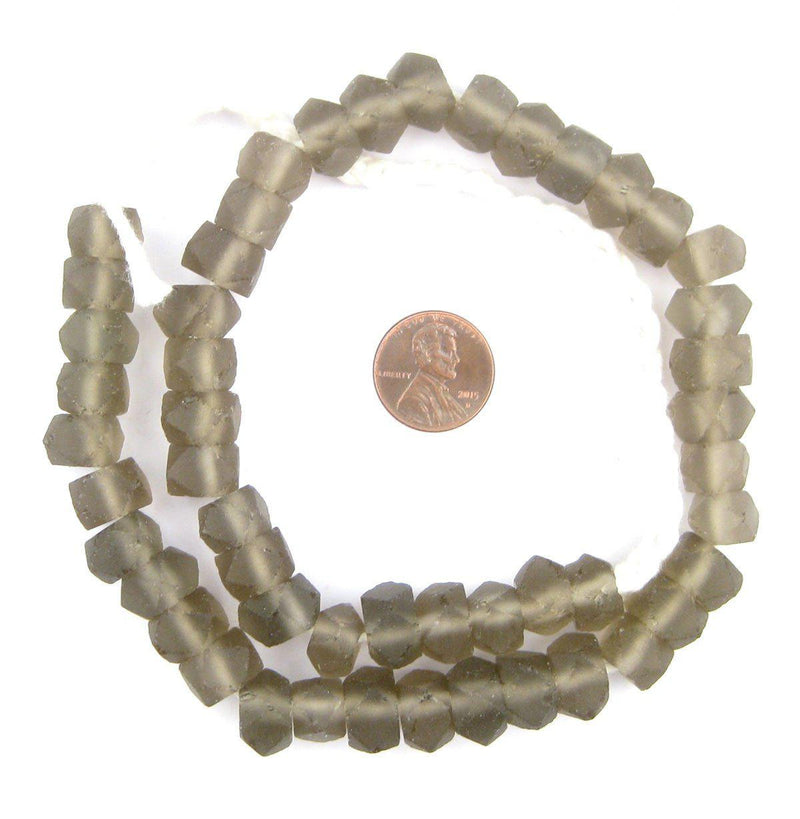 Groundhog Grey Faceted Recycled Java Sea Glass Beads - The Bead Chest