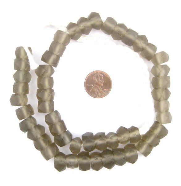 Groundhog Grey Faceted Recycled Java Sea Glass Beads