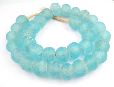 Jumbo Clear Marine Recycled Glass Beads (23mm) - The Bead Chest
