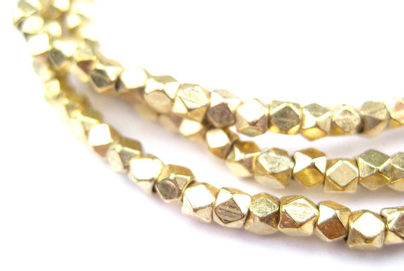 Diamond Cut Faceted Gold Color Beads (3mm) - The Bead Chest