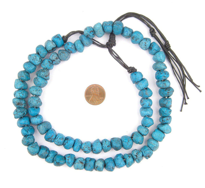 Teal Moroccan Pottery Beads (Chunk) - The Bead Chest