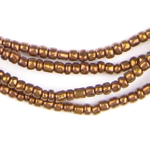 Bronze Color Ghana Glass Beads (2 Strands) - The Bead Chest