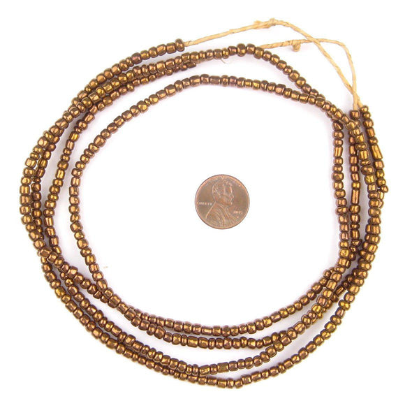 Bronze Color Ghana Glass Beads (2 Strands)