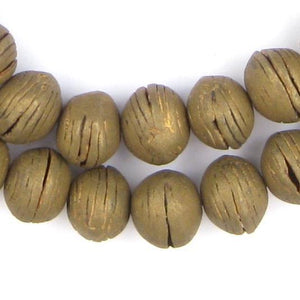 Round Vintage Mali Brass Beads (13x16mm) - The Bead Chest