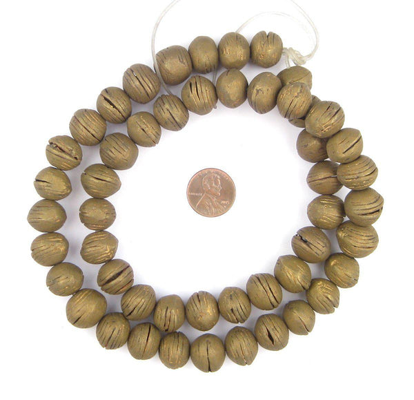 Round Vintage Mali Brass Beads (13x16mm)