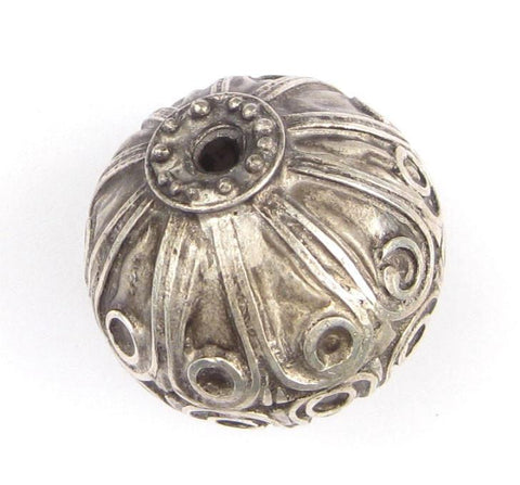 Moroccan Silver Floral Bead (31x31mm) - The Bead Chest
