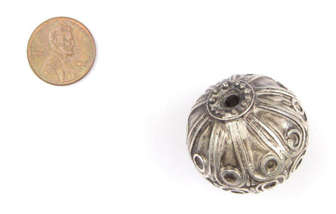 Image of Moroccan Silver Floral Bead (32mm) - The Bead Chest