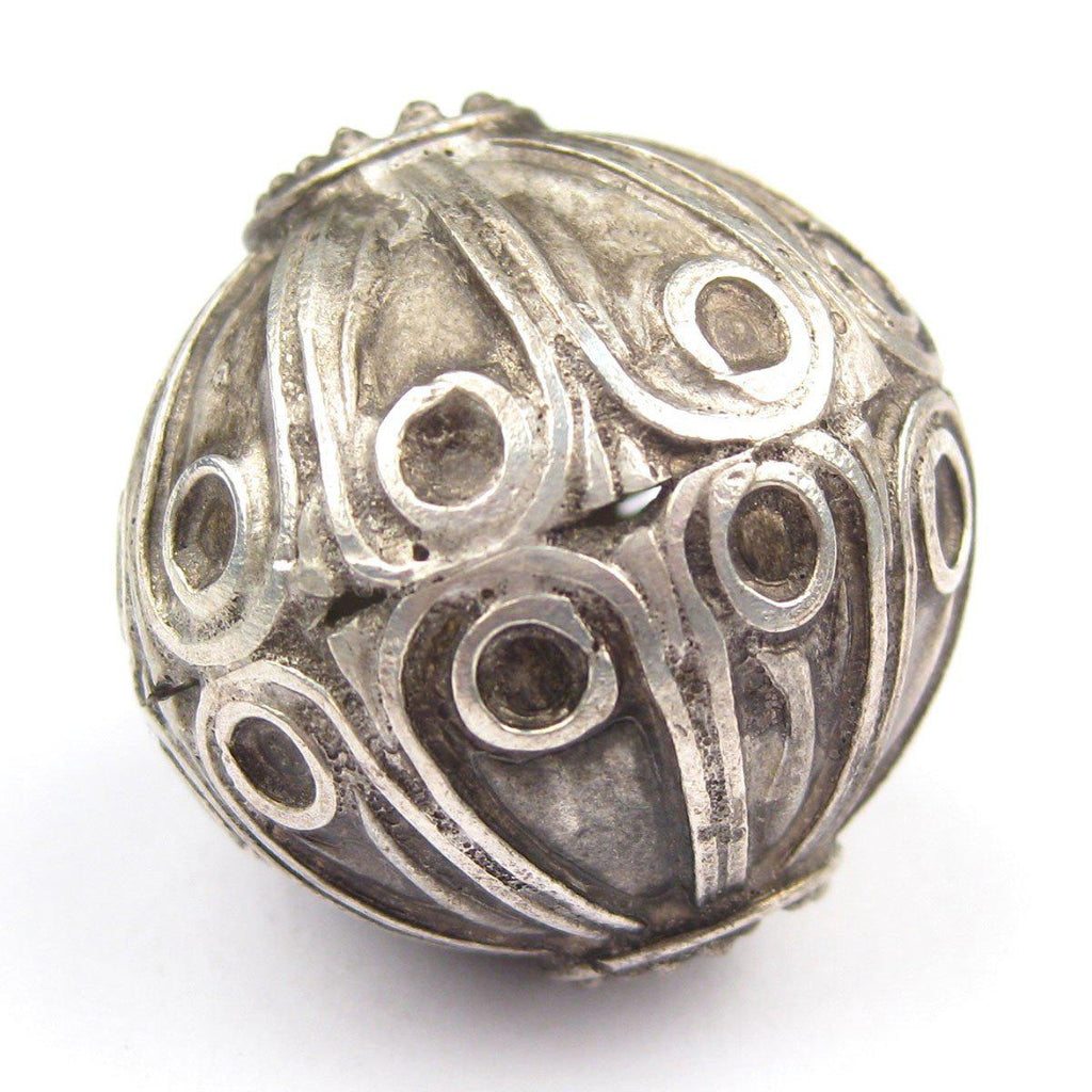 Moroccan Silver Floral Bead (32mm) - The Bead Chest