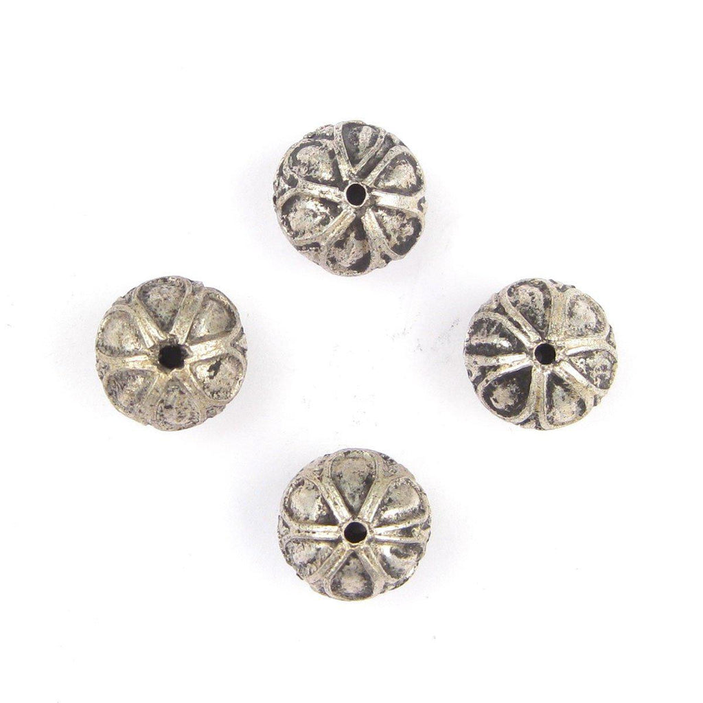 Moroccan Silver Mini-Flower Beads (Set of 4) - The Bead Chest