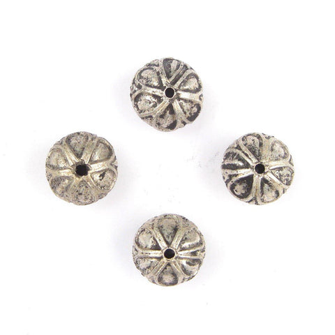 Image of Moroccan Silver Mini-Flower Beads (Set of 4) - The Bead Chest