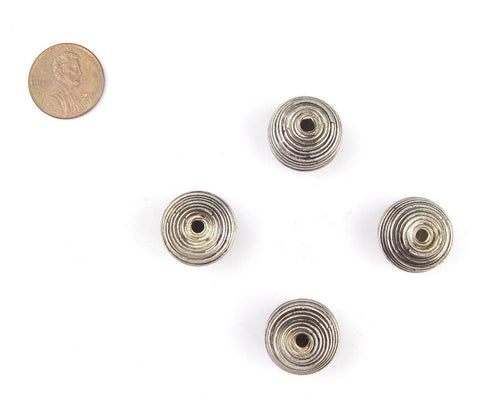 Artisanal Berber Silver Spiral Beads (15x17mm) (Set of 4) - The Bead Chest