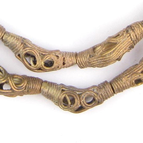 Eye Design Elbow Brass Filigree Beads (26x9mm) - The Bead Chest