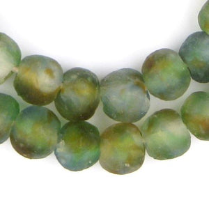Blue/Green/Brown Swirl Recycled Glass Beads (14mm) - The Bead Chest