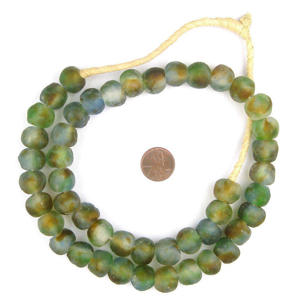 Blue/Green/Brown Swirl Recycled Glass Beads (14mm)