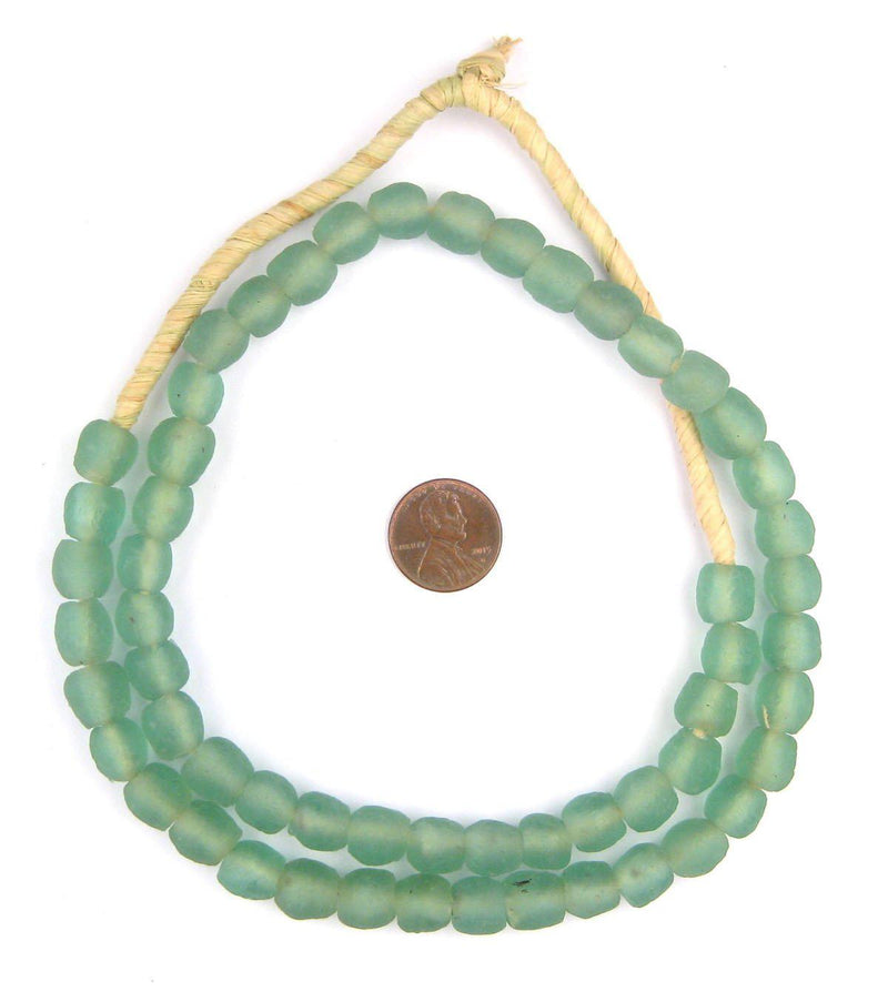Green Aqua Recycled Glass Beads (11mm) - The Bead Chest