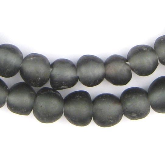Charcoal Black Recycled Glass Beads (11mm) - The Bead Chest