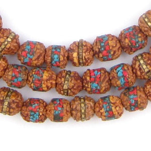 Inlaid Rudraksha Prayer Beads (8mm) - The Bead Chest