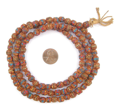 Image of Inlaid Rudraksha Prayer Beads (8mm) - The Bead Chest