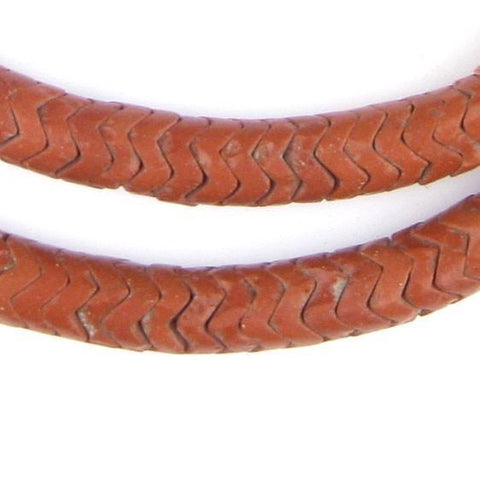 Brick Brown Glass Snake Beads (10mm) - The Bead Chest