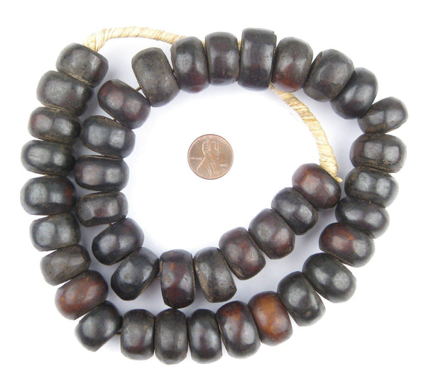 Dark Brown Kenya Bone Beads (Large)