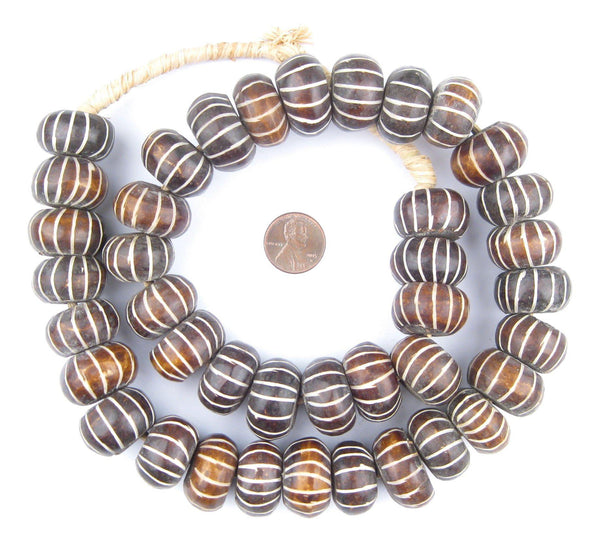Carved Chevron Brown Bone Beads (Large)