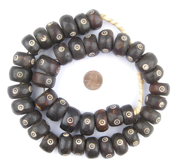 Carved Eye Design Batik Bone Beads (Large)