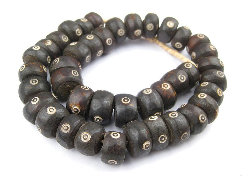 Carved Eye Design Batik Bone Beads (Large) - The Bead Chest