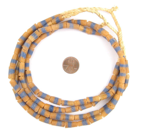 Orange and Blue Sandcast Powder Glass Beads (2 Strands)
