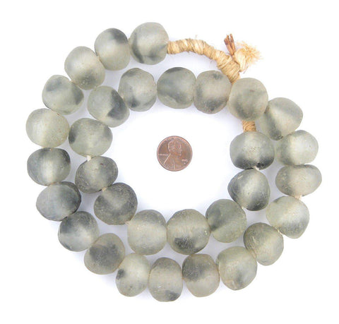Jumbo Grey Mist Recycled Glass Beads (23mm) - The Bead Chest