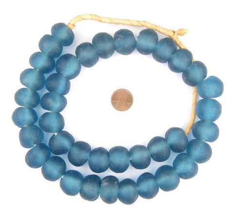 Jumbo Light Blue Recycled Glass Beads (24mm) - The Bead Chest