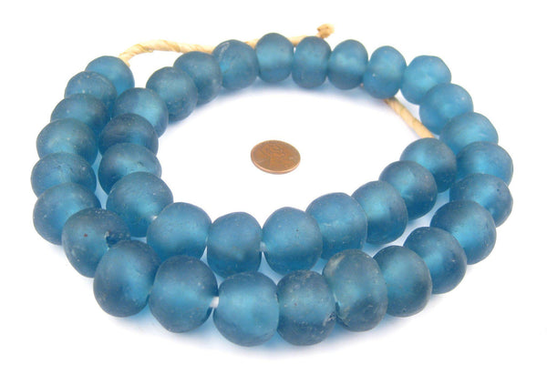 Jumbo Light Blue Recycled Glass Beads (24mm)
