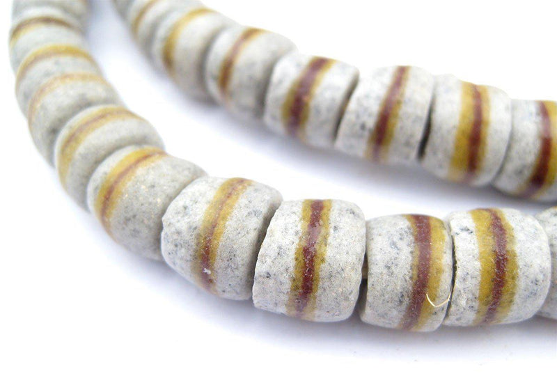 Granite Grey Kente Krobo Beads (9x11mm) - The Bead Chest