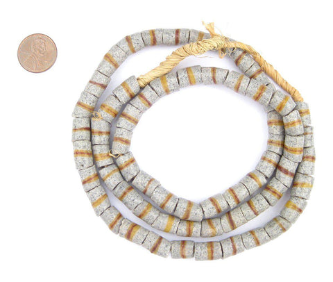 Granite Grey Kente Krobo Beads (12x8mm) - The Bead Chest