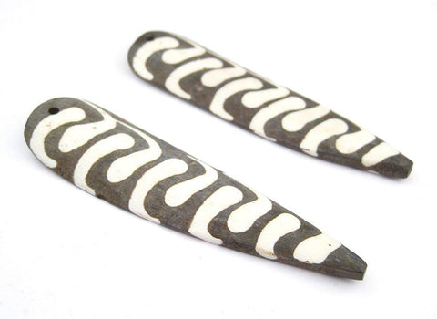 Image of Batik Bone Swirl Feather Pendant (95mm)(Set of 2) - The Bead Chest