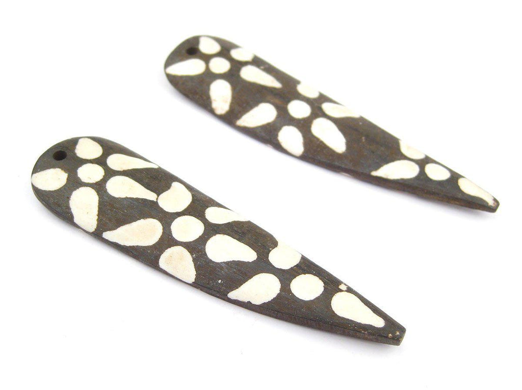 Batik Bone Swirl Feather Pendant (85mm)(Set of 2) - The Bead Chest