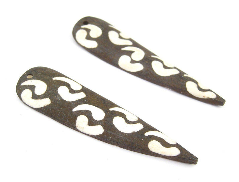 Whirlwind Batik Bone Feather Pendant (Set of 2) - The Bead Chest