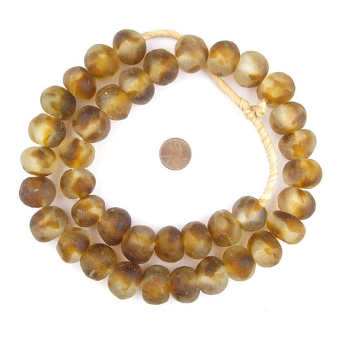 Jumbo Brown Swirl Recycled Glass Beads (23mm) - The Bead Chest