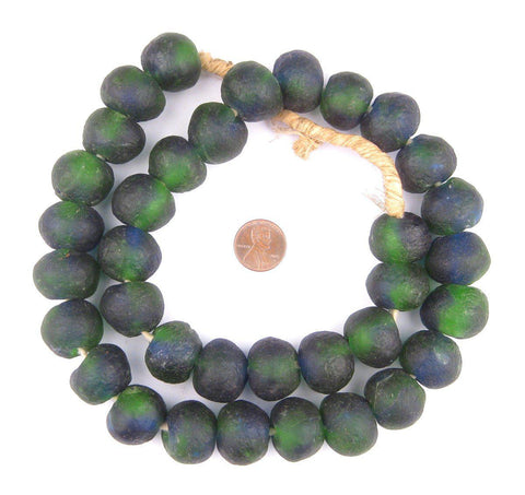 Jumbo Blue Green Swirl Recycled Glass Beads (22mm) - The Bead Chest