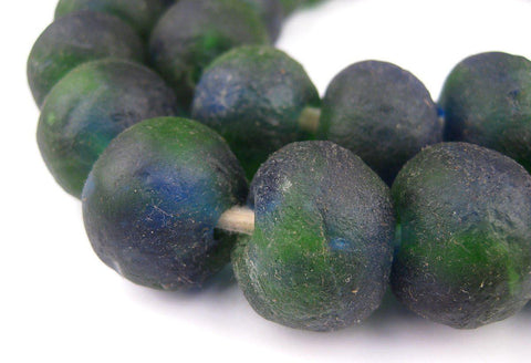 Image of Jumbo Blue Green Swirl Recycled Glass Beads (22mm) - The Bead Chest