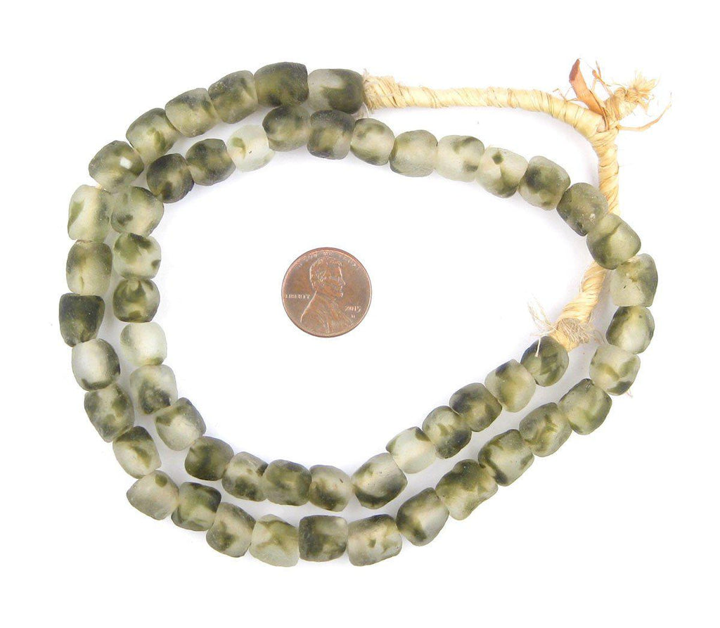 Green Camouflauge Recycled Glass Beads (11mm) - The Bead Chest