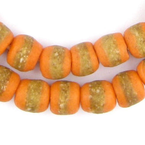 Tangerine Orange Kente Krobo Beads - The Bead Chest