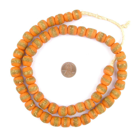 Image of Tangerine Orange Kente Krobo Beads - The Bead Chest
